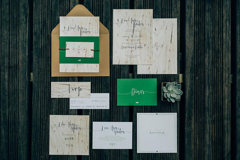 Papeterie de mariage avec invitation et carton réponse - Création Les P'tits Papiers - Photographe : Pierre Atelier