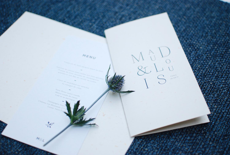 Menu mariage moderne - Papeterie Prune et Sibylle