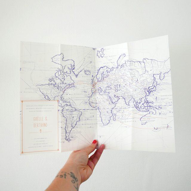 Faire-part mariage inspiration globe-trotteurs - Création sur-mesure Allons-y Alonso