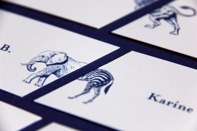 Marque-places mariage sur le thème des animaux - Création originale de Allons-y Alonso