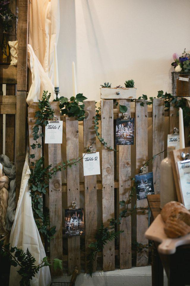 Plan de table réalisé sur une palette pour un mariage éco-responsable et un style industriel - Authentic By Fanny - Photographe : Zéphyr et Luna