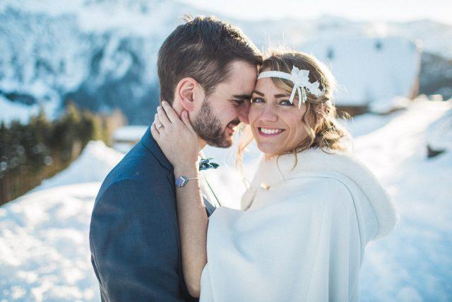 Jeunes mariés d'hiver - Mariage à la montagne capturé par Sylvain Bouzat