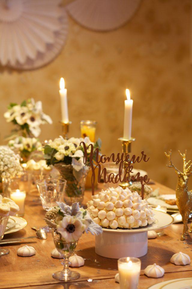 Cake topper en bois disponible sur Modern Confetti - Photographe : Marie Préchac