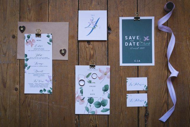 Papeterie complète pour un mariage organique - Création de La Papette - Photographe : June.H