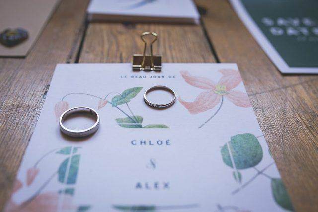 Faire-part fleuri pour un mariage organique - Création de La Papette - Photographe : June.H