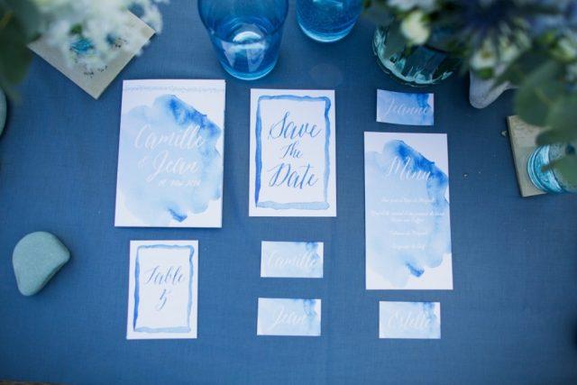 Papeterie de mariage à l'aquarelle à la fois sobre et chic - Créée par River Fabric - Photographe : Ulrike Photographie