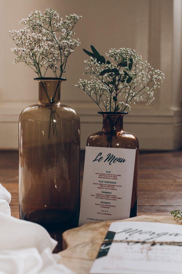 Menu de table mariage vert et cuivre - Création de La Papette