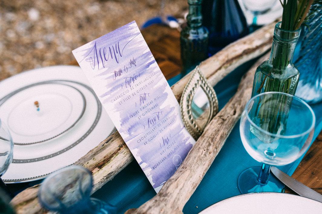 Menu de mariage - Création Les P'tits Papiers - Photographe : The Quirky