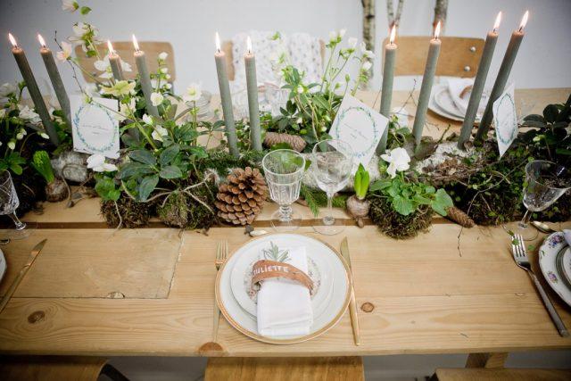 Décoration de table de mariage dans un esprit éco-responsable - Photographe : Laurianne Conesa